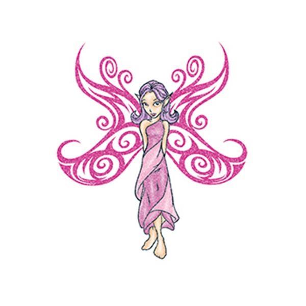 Glitter Pink Fairy Temporary Tattoo - Glitter Pink Fairy Temporary Tattoo