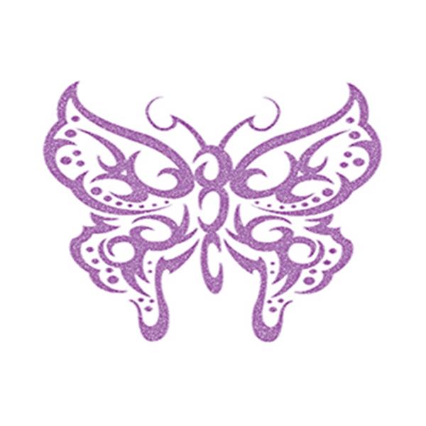 Glitter Purple Tribal Butterfly Temporary Tattoo - Glitter Purple Tribal Butterfly Temporary Tattoo
