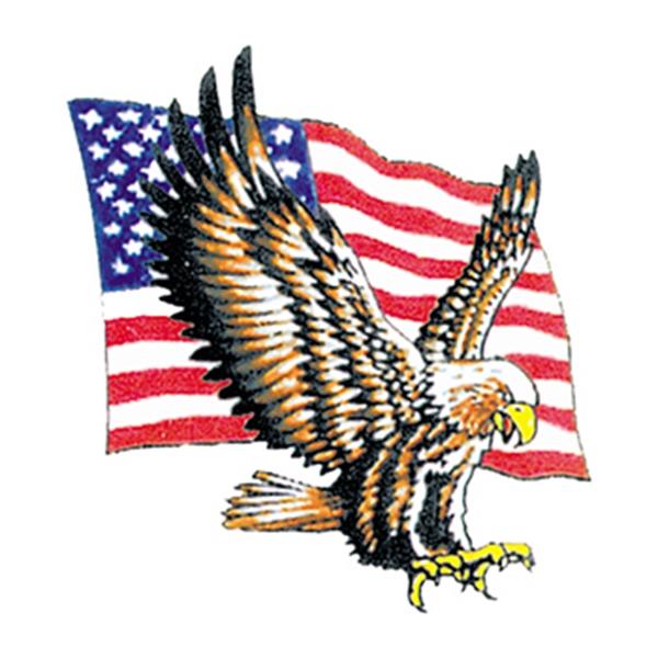 Bald Eagle with Flag Temporary Tattoo - Bald Eagle with Flag Temporary Tattoo