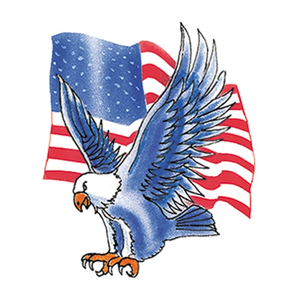 Blue Eagle with Flag Temporary Tattoo - Blue Eagle with Flag Temporary Tattoo