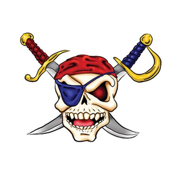Pirate Skull and Cross Swords Temporary Tattoo - Pirate Skull and Cross Swords Temporary Tattoo