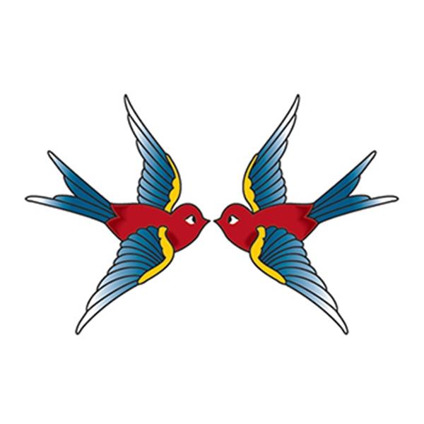 Vintage Swallows Temporary Tattoo - Vintage Swallows Temporary Tattoo