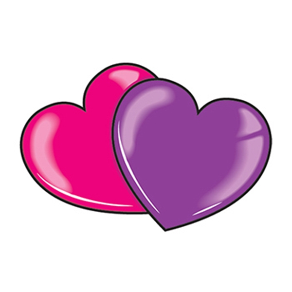 Pink and Purple Hearts Temporary Tattoo - Pink and Purple Hearts Temporary Tattoo