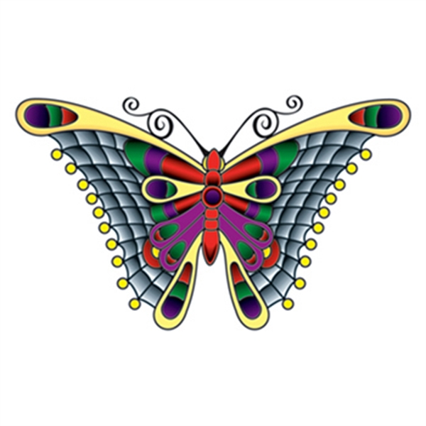 Stained Glass Butterfly Temporary Tattoo - Stained Glass Butterfly Temporary Tattoo