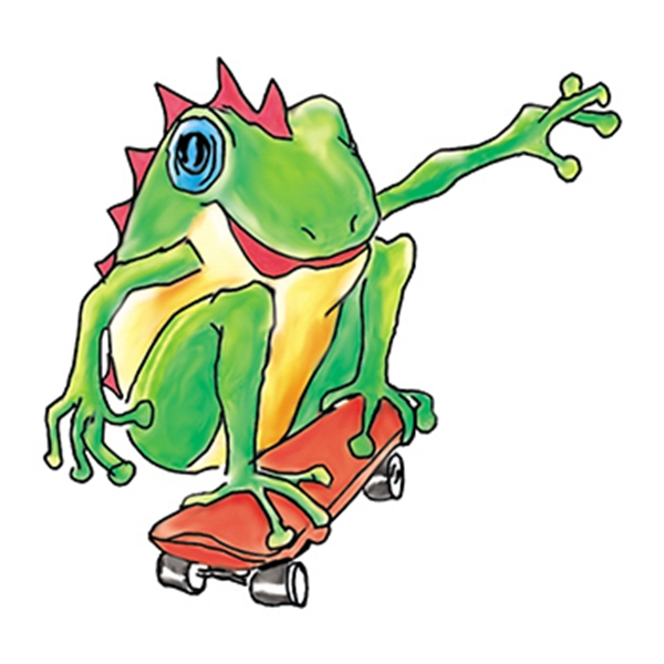 Skateboarding Frog Temporary Tattoo