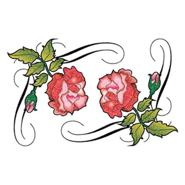 Glitter Tribal Roses Temporary Tattoo - Glitter Tribal Roses Temporary Tattoo