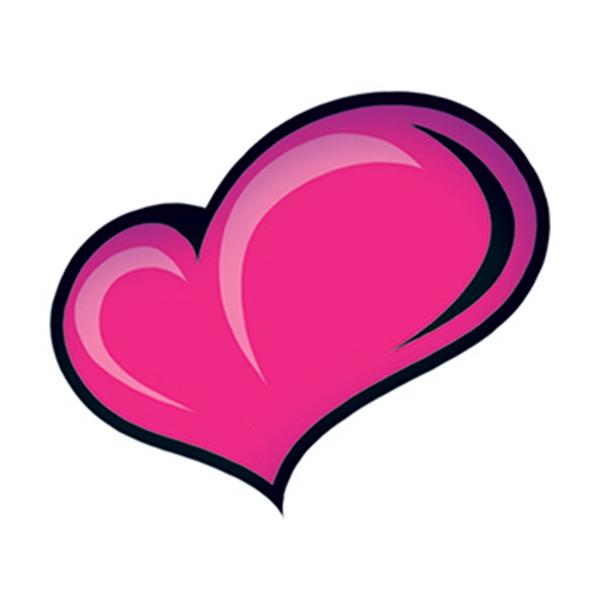 Pink Heart Temporary Tattoo - Heart Temporary Tattoo