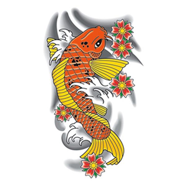 Traditional Orange Koi Fish Temporary Tattoo - Traditional Orange Koi Fish Temporary Tattoo