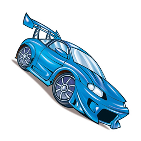 Blue Race Car Temporary Tattoo - Blue Car Temporary Tattoo