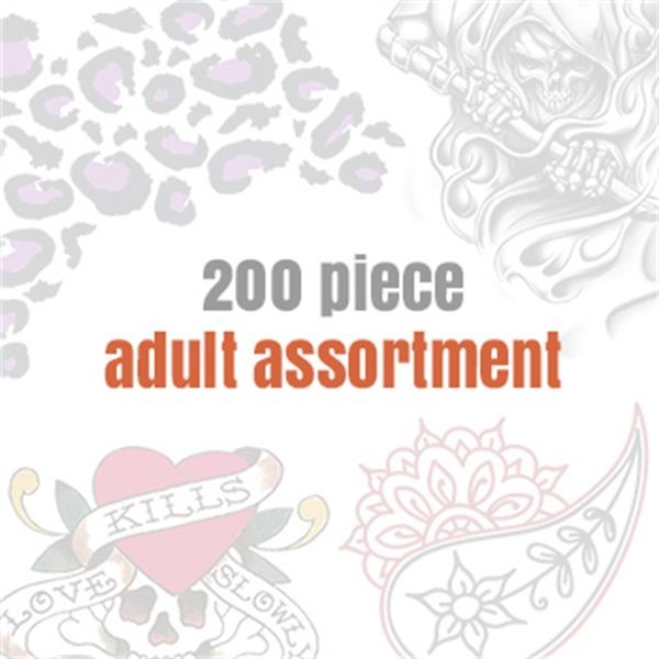 Assorted Temporary Tattoos for Adults (200 tattoos) - Assorted Temporary Tattoos for Adults (200 tattoos)