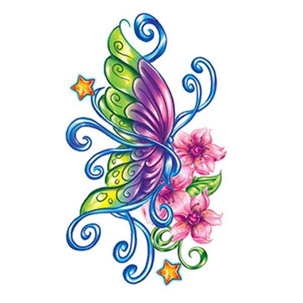 Flirty Butterfly with Stars Temporary Tattoo - Flirty Butterfly with Stars Temporary Tattoo