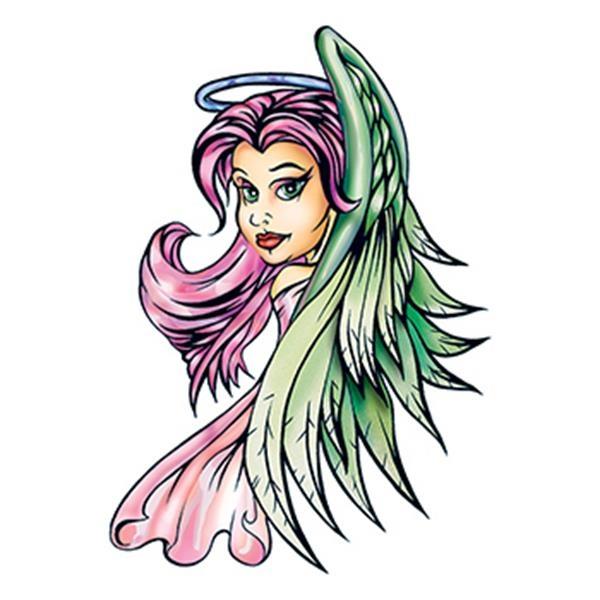 Traditional Purple Angel Temporary Tattoo - Traditional Purple Angel Temporary Tattoo