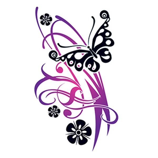 Flirty Butterfly with Flowers Temporary Tattoo - Flirty Butterfly with Flowers Temporary Tattoo