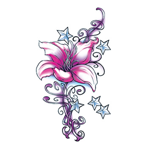 Flirty Flower with Stars Temporary Tattoo - Flirty Flower with Stars Temporary Tattoo