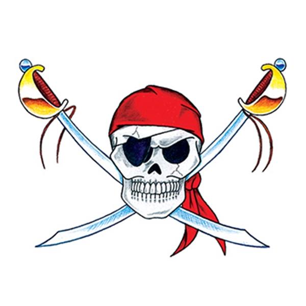 Skull and Swords Temporary Tattoo - Skull and Swords Temporary Tattoo
