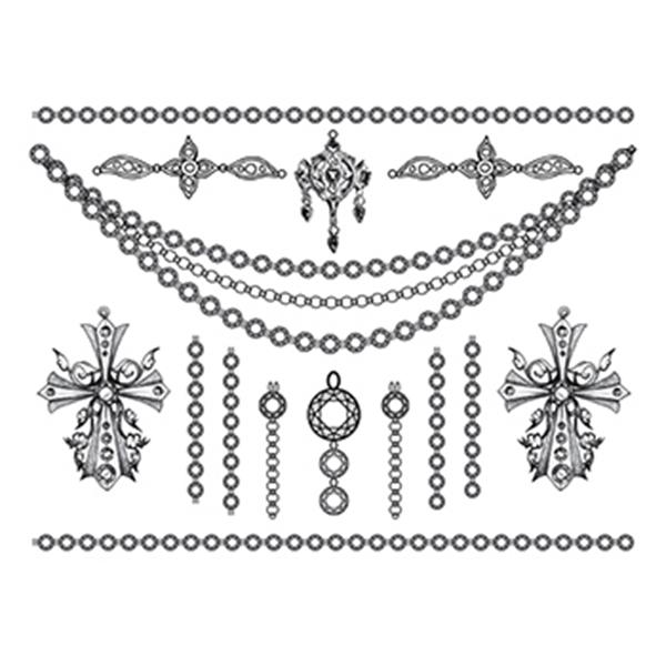 Detailed Crosses Temporary Tattoo Jewelry Set