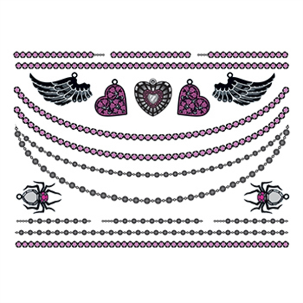 Hearts and Wings Temporary Tattoo Jewelry Set - Hearts and Wings Temporary Tattoo Jewelry Set