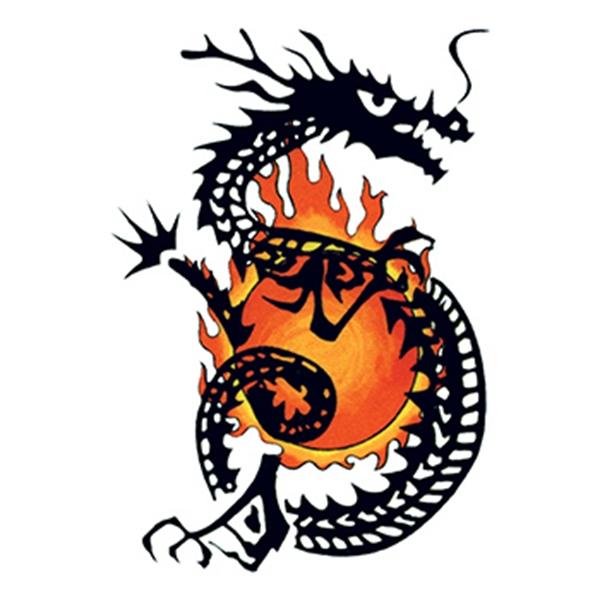 Traditional Flaming Dragon Temporary Tattoo