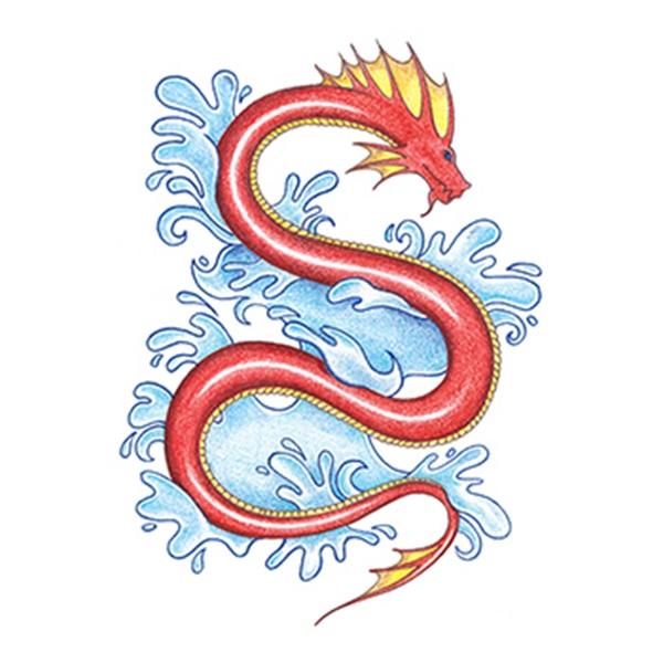Traditional Sea Snake Temporary Tattoo - Traditional Sea Snake Temporary Tattoo