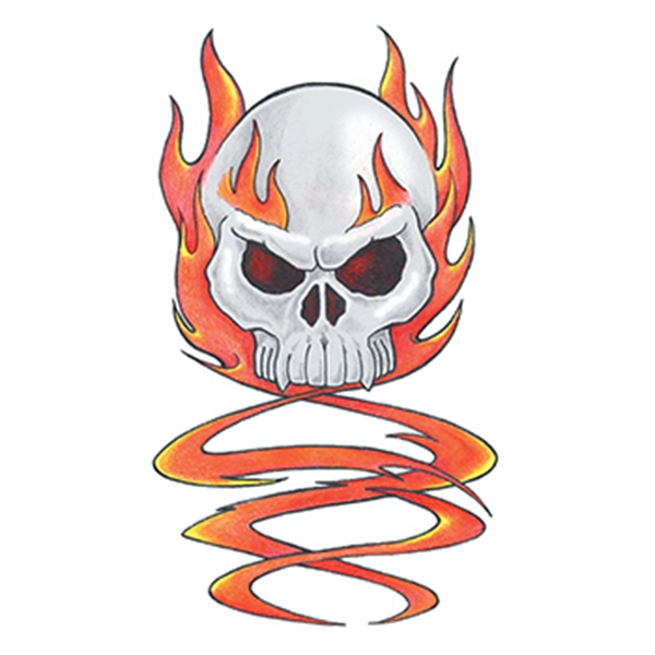 Traditional Skull with Flames Temporary Tattoo