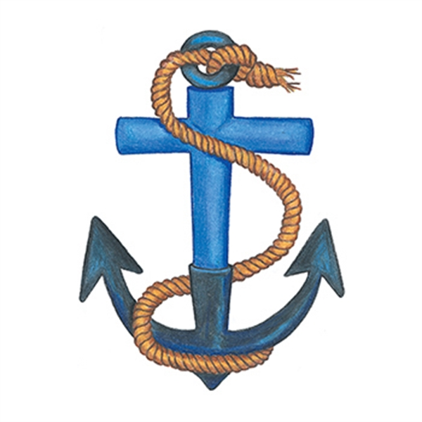Traditional Anchor with Rope Temporary Tattoo - Traditional Anchor with Rope Temporary Tattoo