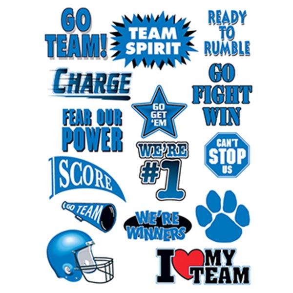 Go Team Blue Set of Sports Temporary Tattoo - Go Team Blue Set of Sports Temporary Tattoo