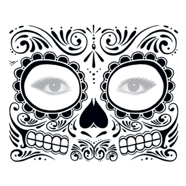 Day of the Dead: Black Skull Face Temporary Tattoo - Day of the Dead: Black Skull Face Temporary Tattoo