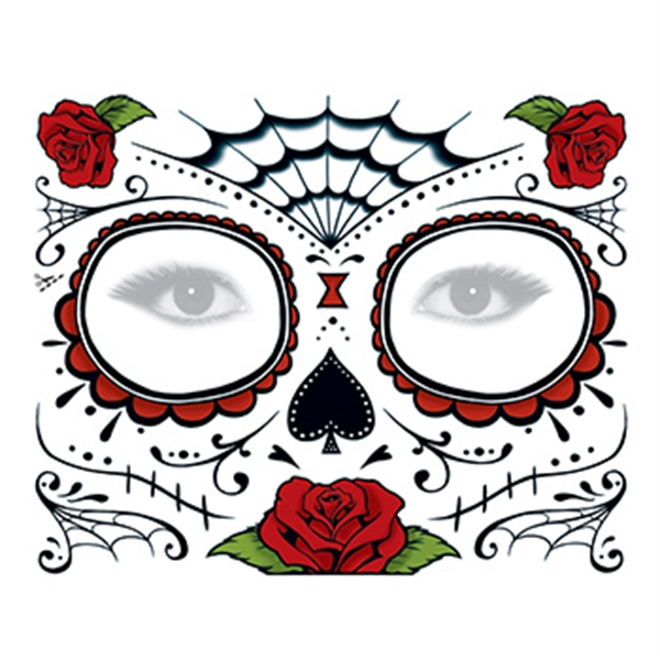 Day of the Dead: Roses Face Temporary Tattoo - Day of the Dead: Roses Face Temporary Tattoo