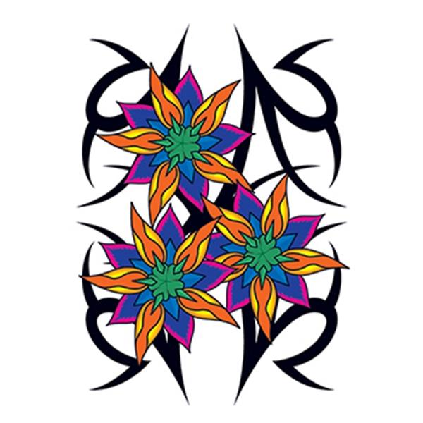 Vibrant Tribal Flowers Temporary Tattoo - Vibrant Tribal Flowers Temporary Tattoo