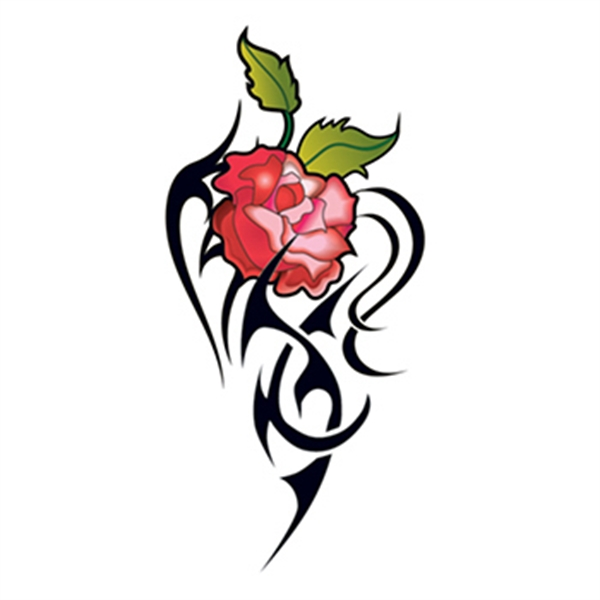 Set of Four Red Tribal Rose Temporary Tattoos - Set of Four Red Tribal Rose Temporary Tattoos