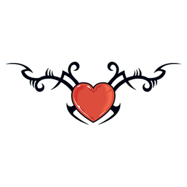 Tribal Heart with Barbed Wire Temporary Tattoo - Tribal Heart with Barbed Wire Temporary Tattoo