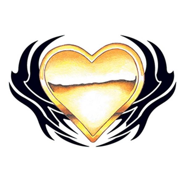 Golden Tribal Heart Temporary Tattoo - Golden Tribal Heart Temporary Tattoo
