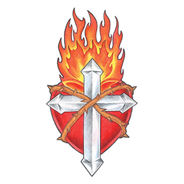 Flaming Cross and Shield Temporary Tattoo - Flaming Cross and Shield Temporary Tattoo