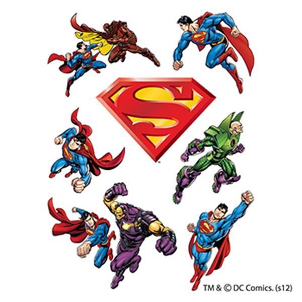Warner Brothers: Superman Temporary Tattoo Assortment Sheet - Warner Brothers: Superman Temporary Tattoo Assortment Sheet