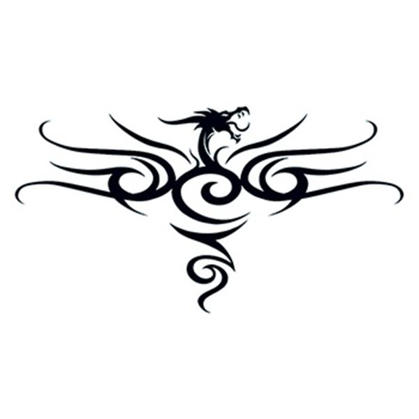 Tribal Black Dragon Back Temporary Tattoo
