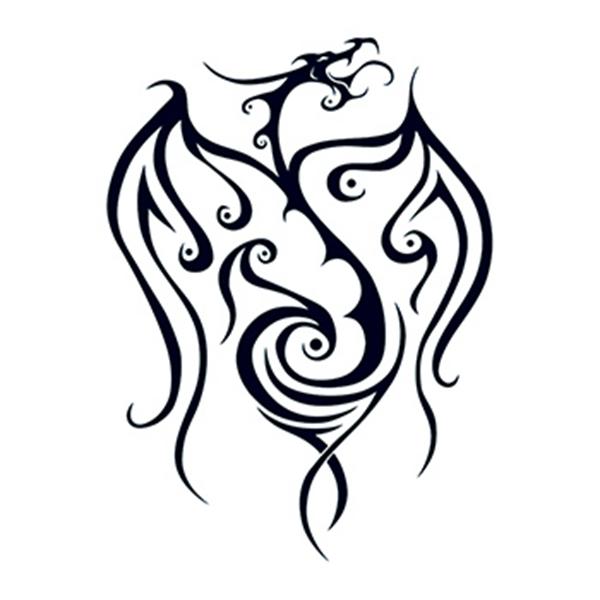 Tribal Black Dragon Temporary Tattoo