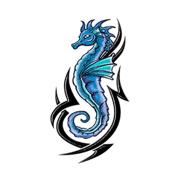 Glitter Blue and Black Tribal Seahorse Temporary Tattoo - Glitter Blue and Black Tribal Seahorse Temporary Tattoo
