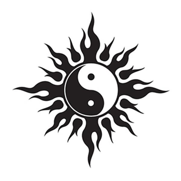 Tribal Yin Yang Temporary Tattoo - Tribal Yin Yang Temporary Tattoo