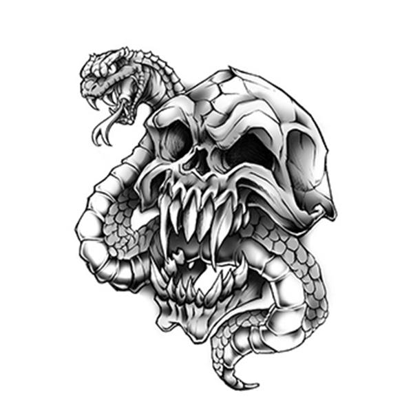 Skull with Snake Temporary Tattoo - Skull with Snake Temporary Tattoo