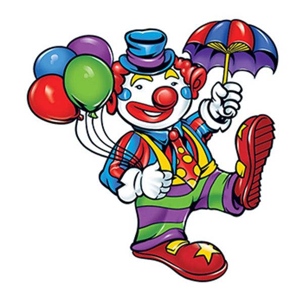 Clown with Balloons Temporary Tattoo
