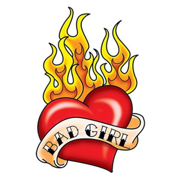 Bad Girl Flaming Heart Temporary Tattoo