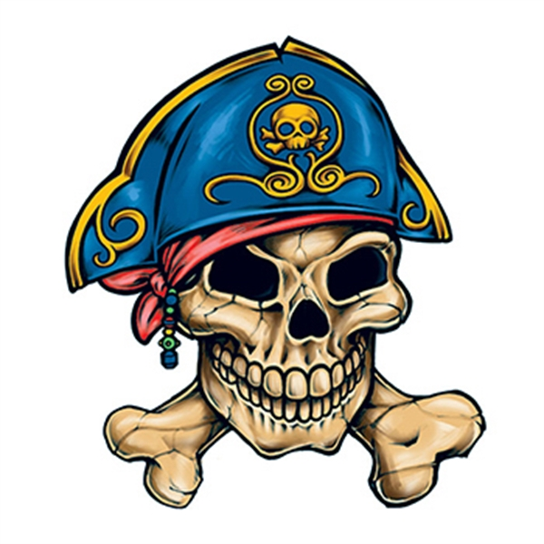 Pirate Skull and Crossbones Temporary Tattoo - Pirate Skull and Crossbones Temporary Tattoo