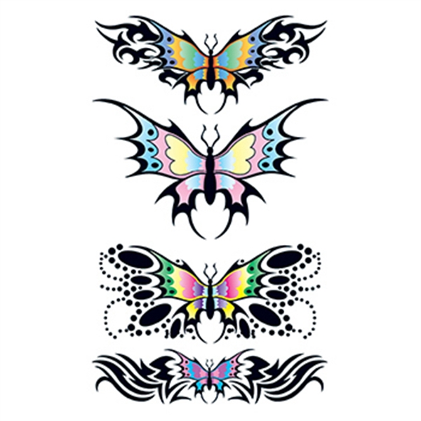 Set of Tribal Butterfly Design Temporary Tattoos - Set of Tribal Butterfly Design Temporary Tattoos