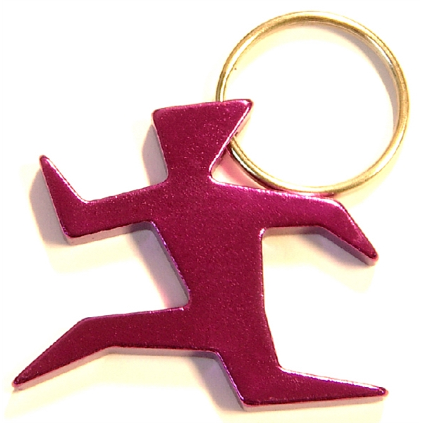 Runner shape bottle opener key chain
