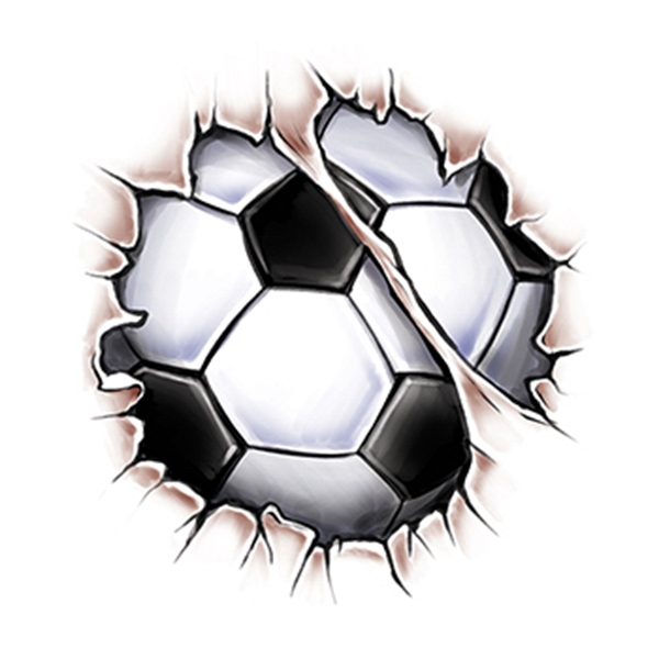 Break Through Soccer Ball Temporary Tattoo - Break Through Soccer Ball Temporary Tattoo