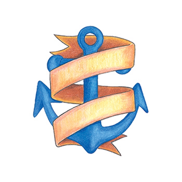 Traditional Anchor with Banner Temporary Tattoo - Traditional Anchor with Banner Temporary Tattoo