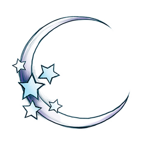 Glow in the Dark Moon and Stars Temporary Tattoo - Glow in the Dark Moon and Stars Temporary Tattoo