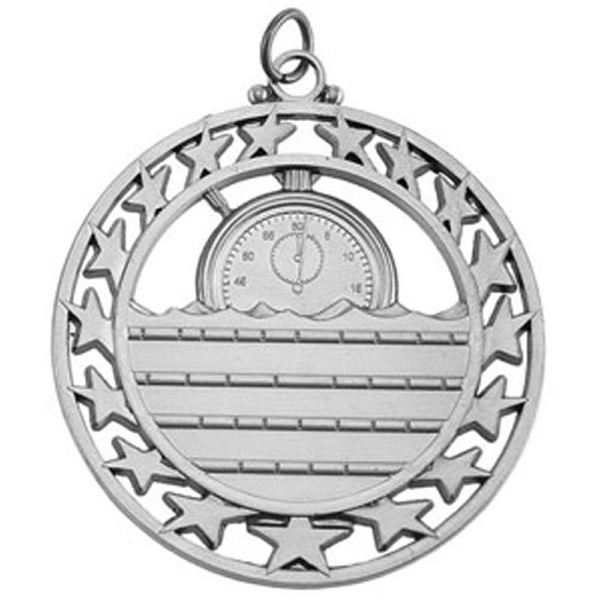 "2 1/2"" Super Star Medal SWIMMING in Silver"