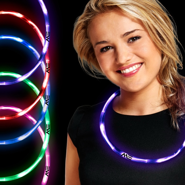 Neon LED Necklaces - Our led neon necklaces feature colorful translucent plastic tubing and bright fiber optics throughout