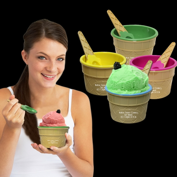 Ice Cream Bowl and Spoon Set - Our plastic ice cream bowls come in a variety of fun summer colors and with matching spoons!